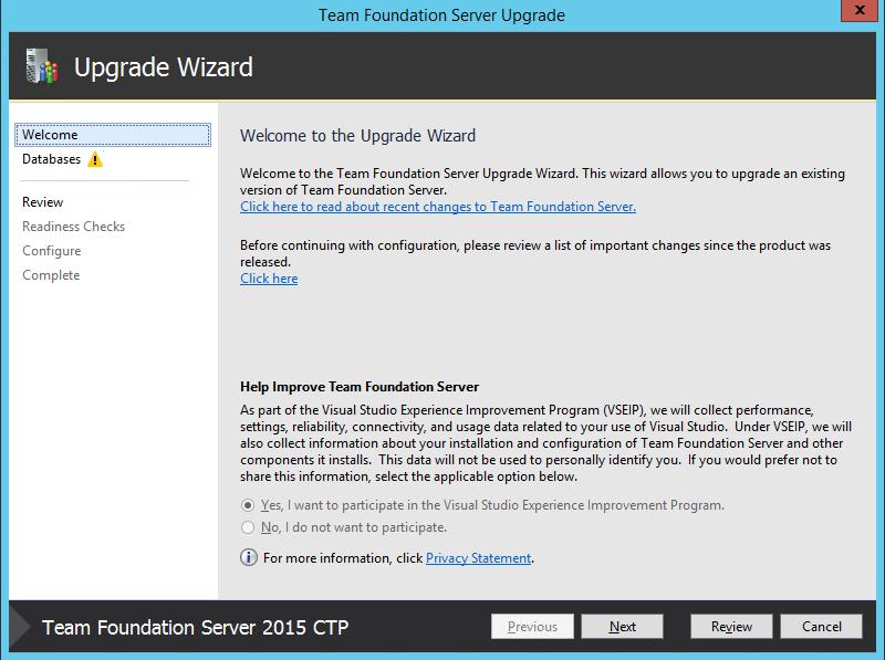 Upgrade Wizard